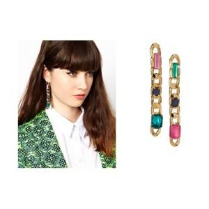 Fashion Gold plated link chain crystal long dangle Ear Stud Earrings E-0288