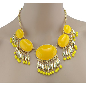 European Style Golden Resin Gem Drop Leaves Pendant Collar Necklace N-3004
