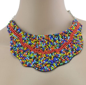 New Bohemia Style Silver Plated Alloy Colorful Beads Weave Collar Necklace N-2367