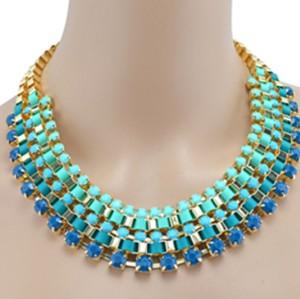 New Fashion Charming European Golden Metal Resin Gem Ribbon Link Choker Necklace N-1589