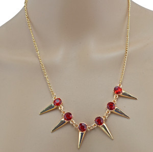 Fashion  European Style Golden Metal Rivet Crystal Chain Shinning Necklace N-1357