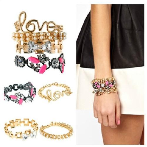 European Charming Mix Style Pearl/Crystal/Gem/LOVE  Combination Bracelet B-0292