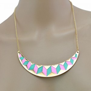 New European Style gold plated Alloy enamel geometry crescent pendant Necklace N-4856