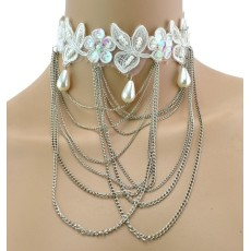 New Fashion Gothic white Lace pearl Drop flower leaves multilayer Tassel Collor  Necklace N-1591
