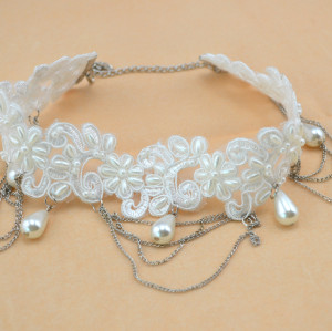 New Gothic white Lace pearl Drop lucky clouds flower leaves multilayer Tassel Collor  Necklace N-1593