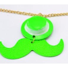 New Korea Style gold plated long chain enamel mustache hat pendant  NecklaceN-3007
