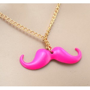 New Korea Style gold plated long chain rose enamel mustache pendant Necklace N-3006