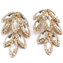 Fashion Gold plated full rhinestone crystal leaves dangle Ear Stud Earrings E-0686