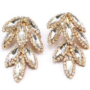 Fashion Gold plated full rhinestone crystal leaves dangle Ear Stud Earrings E-0686