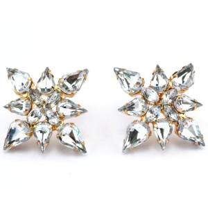 Fashion Gold plated clear drop crystal flower Ear Stud Earrings E-0687