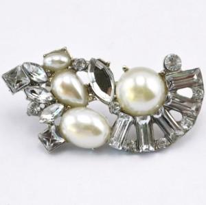 Fashion Silver/Gun black  plated clear rhinestone crystal flower pearl Ear Stud ear cuff E-2090