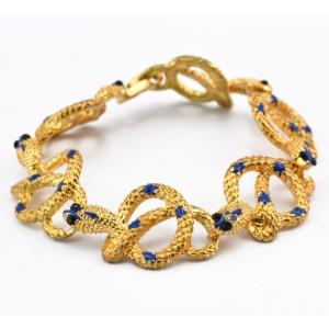 New Korean Style Gold Plated Alloy black eyes enamel snake shape Bracelet B-0293