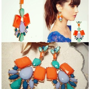 New Arrival Bohemia Style Gold Plated Alloy Colorful Resin Gem Drop Earrings E-0688