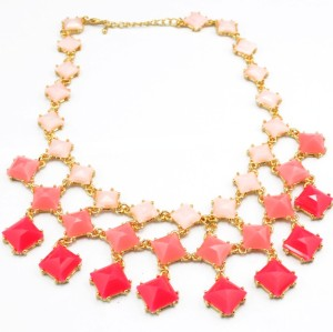 New European gold plated alloy  geometry Square resin candy gem  Choker Necklace 4colors N-3009