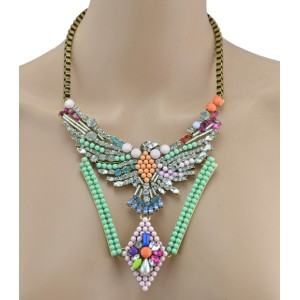 New Luxury Vintage Bronze Alloy Colorful Beads Crystal  Eagle Choker Necklace N-3404