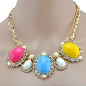 New European Style golden link chain clear rhinestone flower resin gem drop choker Necklace N-3013