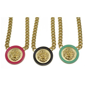 New Arrival European Style Gold Plated Link Chain Enamel Round Lion Head Choker Necklace N-2906