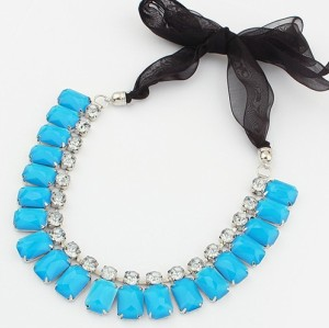 New Korean Style Ribbon Chain Candy Color Resin Crystal Choker Necklace N-3015