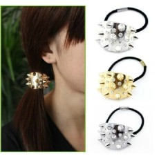 New Fashion European Punk Style Gold Plated Clear Rhienstone Rivet Hair Band F-0096
