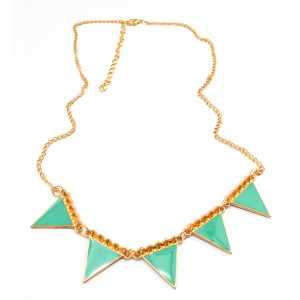 European gold plated alloy rivets triangle pendant necklace adjustable N-4857