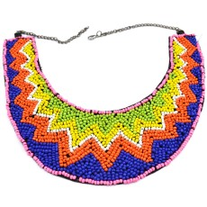 New Bohemia Style gun black chain colorful Beads wave Flower Collar Necklace N-2371
