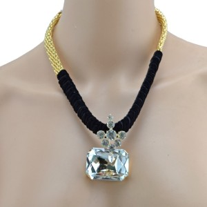 New Fashion Gold Plated Ribbon Chain Clear Green Grey Crystal Choker Necklace N-3016