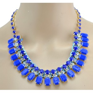 New Arrival European Style Gold Plated Fluorescent Color Resin Rhinestone Choker Necklace N-3017
