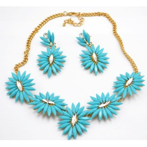 New Arrival European Style Gold Plated Colorful Acrylic Crystal Flower Choker Necklace Earring Set N-3018