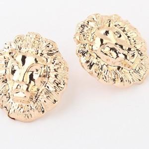 New Fashion Gold Plated Alloy Lion Head Ear Stud Earrings E-1687