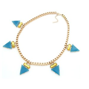 New Fashion European Style Gold plated Alloy Triangle Acrylic Choker Necklace N-4608