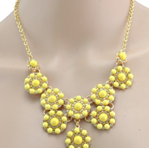 New Fashion Lovely Gold Plated resin gem rhinestone flower Choker Necklace N-3021