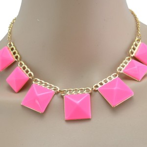 New Fashion Lovely Gold Plated geometry square resin gem tassels Choker Necklace N-4860