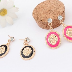 Hot Sale New Fashion European Style Gold Plated Alloy Enamel Crystal Lion Head Dangle Earrings E-1688