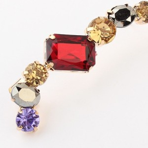 Charming New Fashion European Style Gold Plated Alloy Colorful Acrylic Crystal Ear Clip Earring For Left Ear E-2093