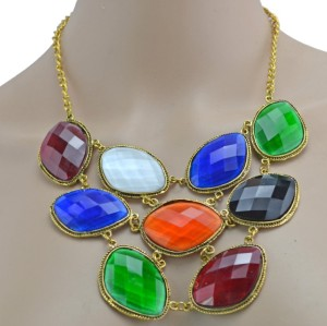 New Fashion vintage gold alloy mix colors resin gem choker Necklace N-3024
