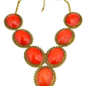 New Fashion vintage gold alloy hollow out flower resin gem choker Necklace N-3022