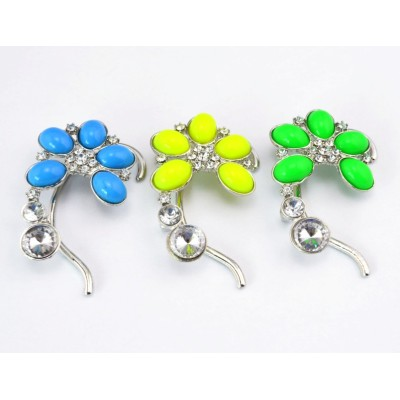 New Fashion Charming Silver Plated Alloy 3 Colors Option Resin Gem Crystal Flower Ear Cuff Earring E-2094