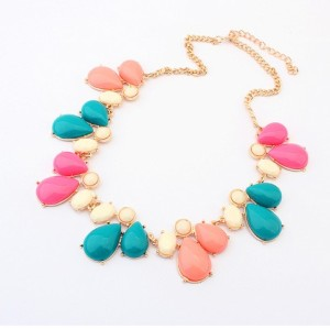 New Arrival Korean Style Gold Plated Alloy Colorful Resin Drop Choker Necklace For Summer N-3027