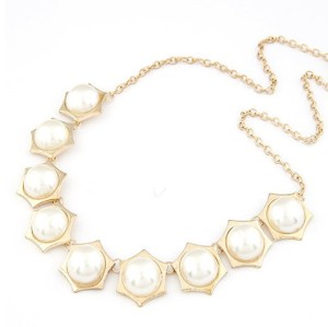 New Fashion gold plated alloy hexagon round resin gem choker Necklace N-3023