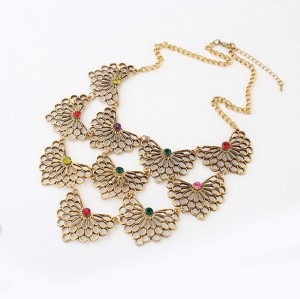 Europe Vintage Style multilayer geometry hollow out flower rhinestone necklace N-1892