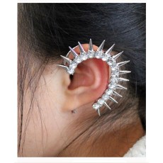 New Fashion European Punk Style Gold Silver Gun Black Plated Alloy Crystal Rivet Ear Cuff Earring E-2095