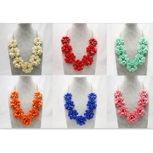 Europe Style gold plated chain big resin flower rhinestone necklace N-3028