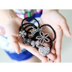 New Fashion Korea Style black metal Clear Rhienstone Crown Heart bowknot Flower Hair Band F-0102