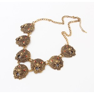 Europe Style Vintage gold alloy red rhinestone leopard tiger necklace N-3407