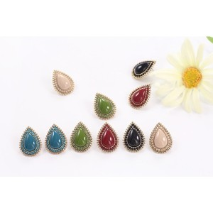 New Fashion Korean Style Gold Plated Alloy 5 Colors Resin Gem Square Drop Ear Stud Earrings E-2096