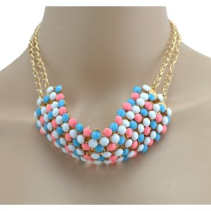 New Arrival European Style Gold Plated Alloy Colorful Resin Beads Choker Double Chain Necklace N-3029