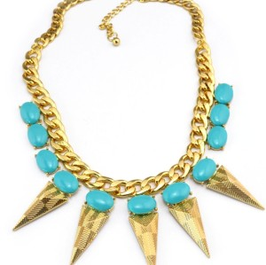 New Arrival European Style Gold Plated link Chain resin gems solid geometer triangle rivets choker Necklace N-3030