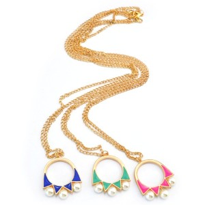 New Arrival European Style Gold Plated long chain ring pearl geometry Necklace N-4265