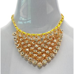 New Arrival European Style Gold Plated silk clear zircon handmade choker  Necklace N-3033