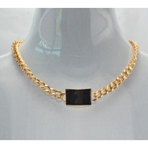 New Fashion European Gold Plated Alloy Link Chain Pink/Black Enamel Geometry Choker Necklace Bracelet Set S-0069